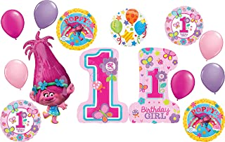 Trolls Poppy Party Supplies 1st Birthday Girl Balloon Bouquet Decoration
