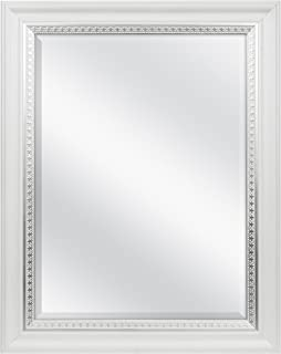 MCS 18x24 Inch Embossed Accent Wall Mirror, 24.5x30.5 Inch Overall Size, White Wood Grain with Silver Trim Finish