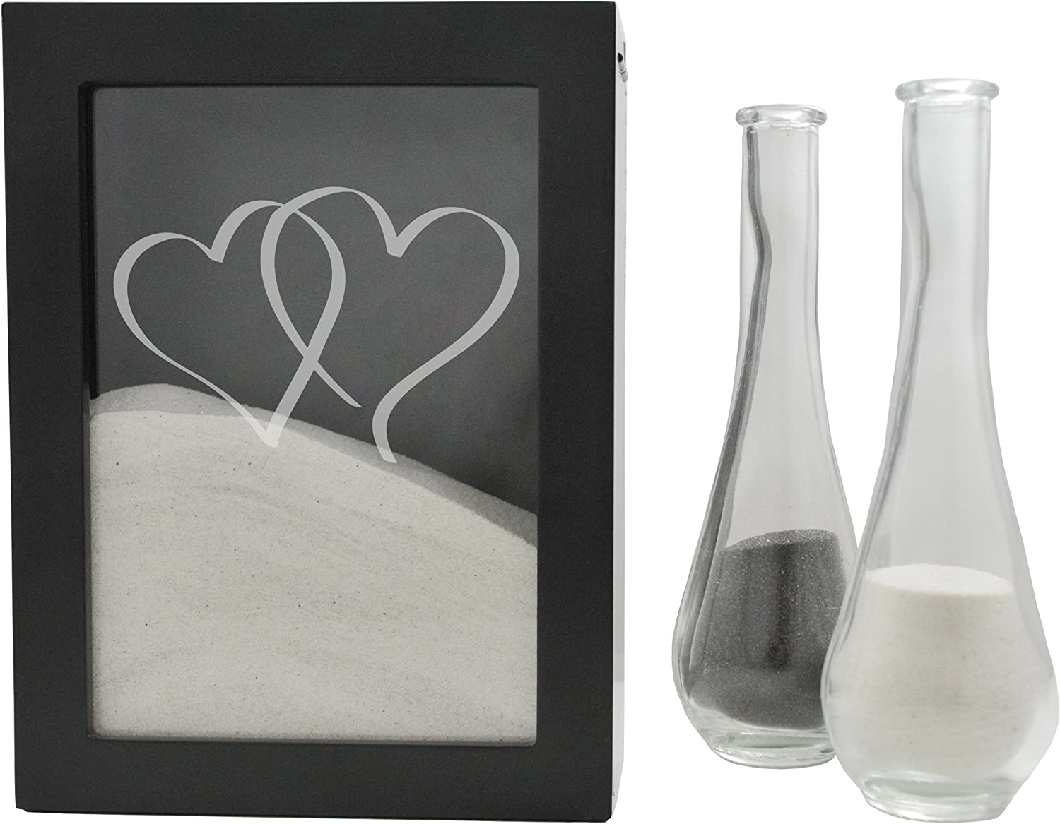 Cathy's Concepts Heart Design Sand Ceremony Shadow Box, Black