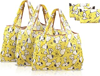 Finex - Set of 3 - Snoopy Yellow Foldable Reusable Tote Recycle Shopping Bag - Lightweight Portable Large Capacity