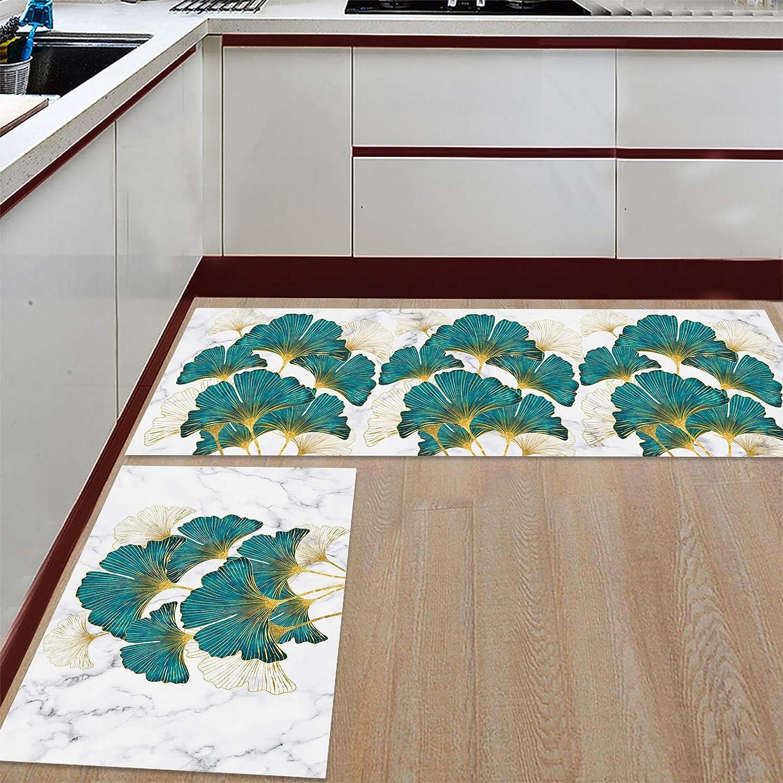 Anti Fatigue Set of 2 Kitchen Rug Finally resale start Leaf Sets Green 2021 Plant Retro Ab