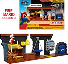 "Nintendo Super Mario Dungeon Deluxe Play Set, Includes: 2.5"" Fire Mario Figure & 7 Interactive Environmentpiece Moving Platforms & Thwomp, Spinning Fire Balls, Hidden Coin, Swing, & Door"