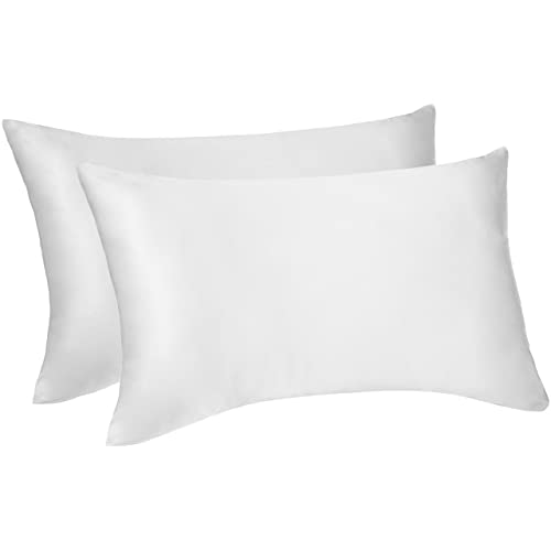 Pinzon reversible pillowcase made of mulberry silk and cottons - 50x75cm, pack of 2, White