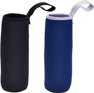 Mudder 2 Pieces Water Bottle Sleeve Neoprene Carrier Nylon Bottle Sleeve for 19.4 oz Glass Water Bottle, 550 ml (Black and Navy Blue)