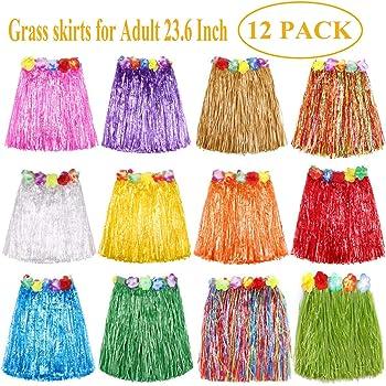 10 Pieces Elastic Hawaiian Hula Dancer Grass Skirt Grass Hibiscus Flowers Birthday Tropical Party Decorations Favors Supplies