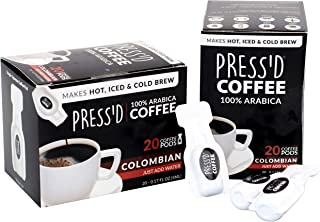 Press'd Single-Squeeze Coffee Pods | Makes Hot, Iced & Cold Brew | 40 Pods (2-Pack)