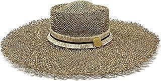 Cuckoo B Cora Seaweed Straw Frayed Wide Brim Hat with Trim