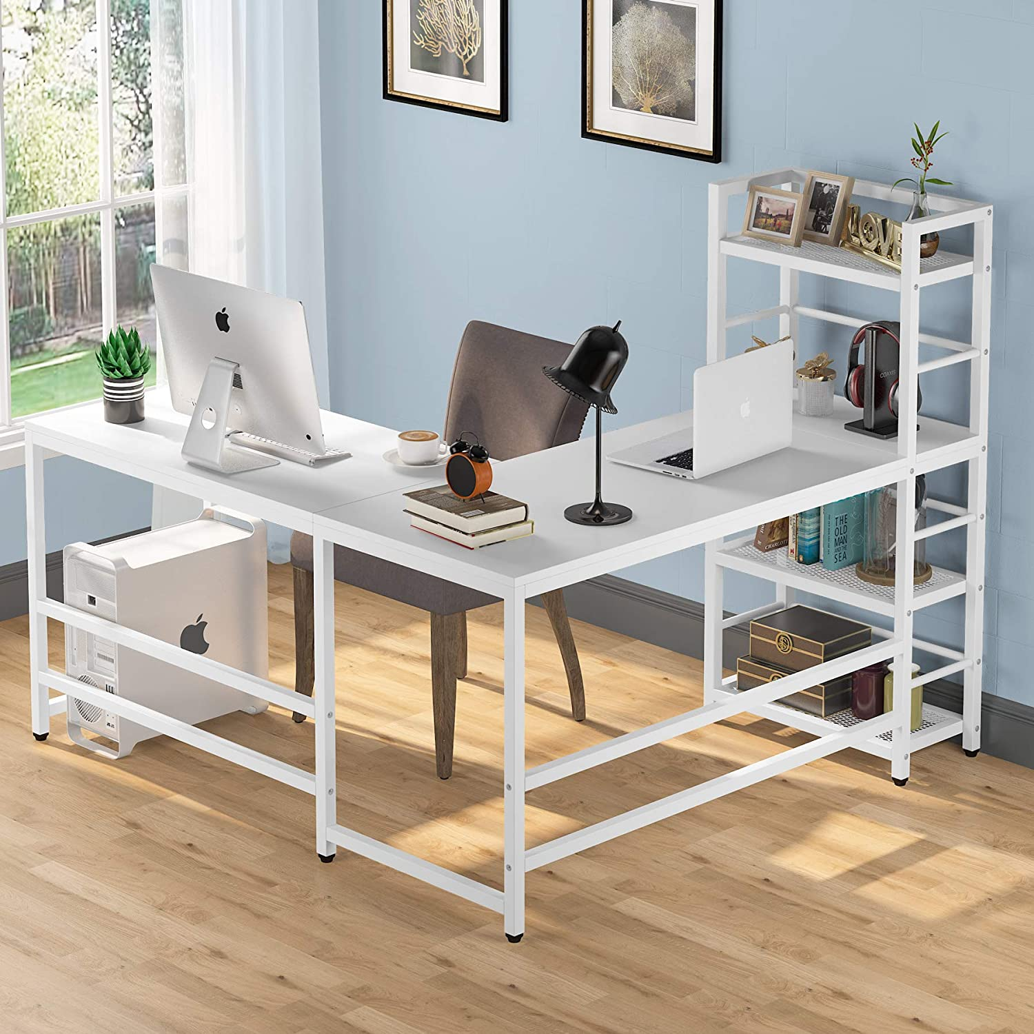 Tribesigns 59 Inch L Shaped Bookshelf Reversi Storage Selling rankings with Desk Year-end gift