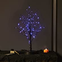 Hairui Halloween Lit Tree with Purple Lights 80 LED 18 Inches Battery Operated and USB Plug in, Lighted Black Glittered Sp...