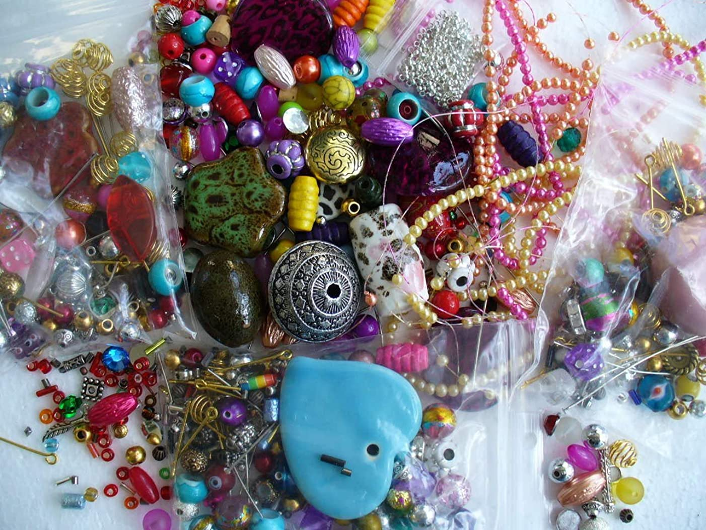 UnCommon Artistry's Large Assortment of Beads and Findings. Grab Bag of Beads for Crafts. 1/4 Pound
