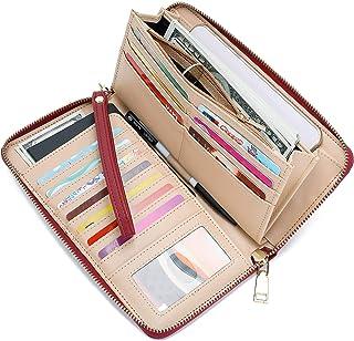 5f5522f7e5e0 WOZEAH Women's RFID Blocking PU Leather Zip Around Wallet Clutch Large  Travel Purse