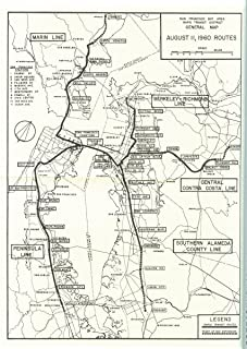 Gifts Delight Laminated 24x33 Poster: San Francisco Bay Area Rapid Transit District General Map, August 11, 1960 Routes