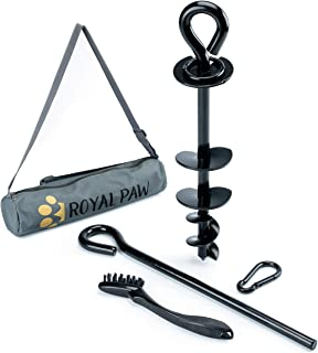 Royal Paw Heavy Duty Dog Tie Out Stake - Spiral Ground Anchor for Large Dog, Dog Stake for Yard, and Dog Runner | Use with...