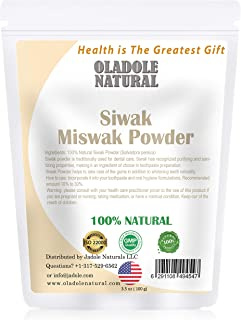 Oladole Natural Miswak (Siwak) Powder, 100% Natural, Dental Care, Natural Toothpaste, Whitening Teeth, Oral Care, 100 g