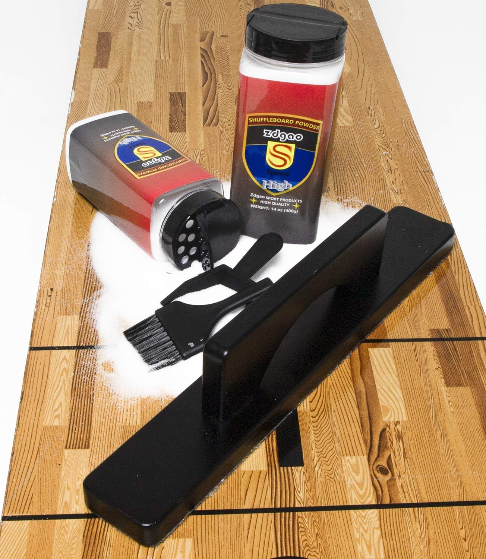 1 Hardwood Brush Mini Dustpan +Mini Broom Shuffleboard Wax/& Brush Set- Including 2 Cans of Shuffleboard Sand Powder