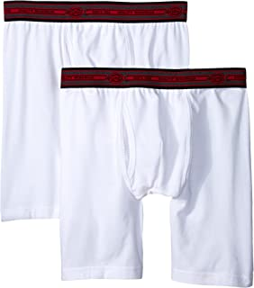 Men's 2-Pack Cotton Performance White Long Leg Boxer Brief