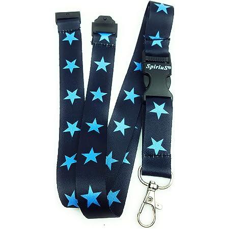 Spirius Cordon tour de cou pour badge d'identification/porte-clés, multicolore étoiles bleues