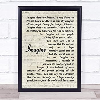 Amazon Com 123 Biiuyoo John Lennon Imagine Quote Song Lyric Print With Frame 14 X 11 Inches Posters Prints