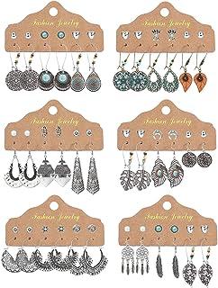 YADOCA 36 Pairs Boho Vintage Drop Dangle Earrings Set for Women Bohemian National Style Studs Hollow Piercing Jewelry Gifts