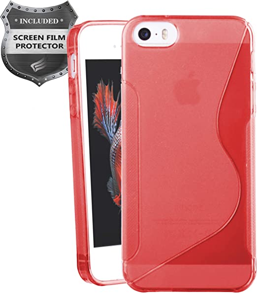 Apple iPhone SE, iPhone 5, iPhone 5S - Soft TPU Transparent S-Shape Case PET Film Screen Protector - SCTS Red