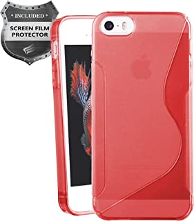 Apple iPhone SE, iPhone 5, iPhone 5S - Soft TPU Transparent S-Shape Case + PET Film Screen Protector - SCTS Red