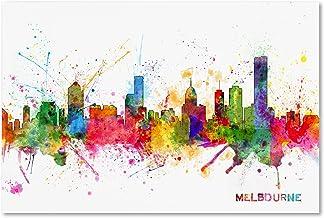Melbourne Skyline by Michael Tompsett, 12x19-Inch Canvas Wall Art