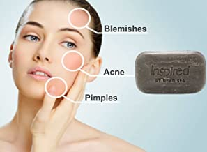 Inspired by Dead Sea Purifying Black Mud Soap Bar Delicate Oily Acne Red Skin Rashes Teenage Pimples Blemishes Black&White Heads 100% Natural Ingredients Best Seller All Skin Conditions 125gr/4.4oz