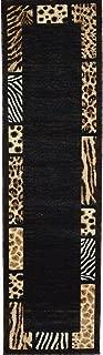 Animal Skin Prints Patchwork Leopard Zebra Border Runner Rugs 4 Less Collection Area Rug R4L 73 (2'X7')