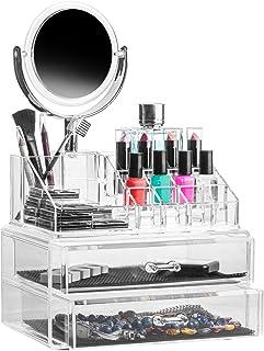 Solly's Claudia Présentoir à Bijoux avec 2 Tiroirs et 16 Compartiments pour Make-Up et Un Miroir