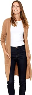State Cashmere Mid-Length 100% Pure Cashmere Open Cardigan Long Sleeve Sweater for Women