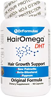 DrFormulas Original Hair Vitamins Without Biotin | HairOmega DHT Blocker | Hair Growth Supplement Pills, 45 Day Supply