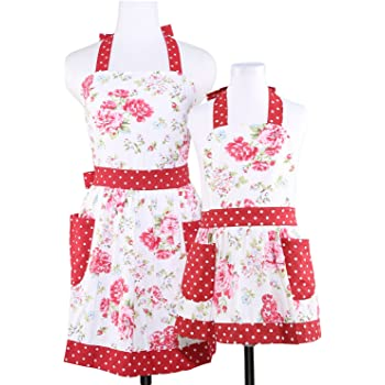 NEOVIVA Kitchen Aprons with Pockets for Mama and Me, Lovely Mother and Daughter Apron Set for Cooking, Baking, BBQ and Gardening, Style Diana, Floral Lollipop Red