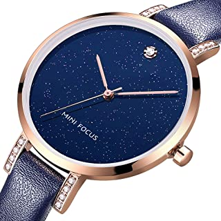 MF MINI FOCUS Women Fashion Watch with Leather Strap, (Blue, Black, Alloy, Wear-Resistant Crystal) Analog Quartz Male Wristwatch for Gift