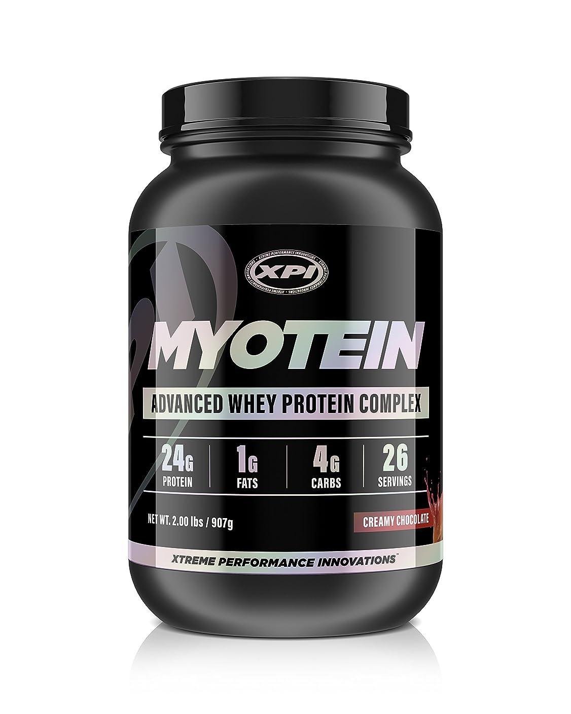 XPI Supplements ミオテインプロテインパウダー(クリーミーチョコレート、2ポンド) - 最高のホエイプロテインパウダーコンプレックス - グレートテイスティングプロテイン - 加水分解物、分離物、濃縮物、ミセルカゼイン