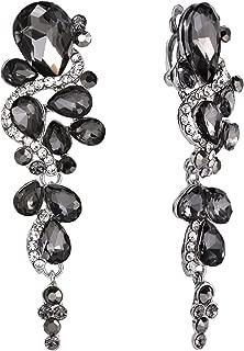Women's Bohemian Boho Crystal Wedding Bridal Multiple Teardrop Chandelier Clip-On Dangle Earrings