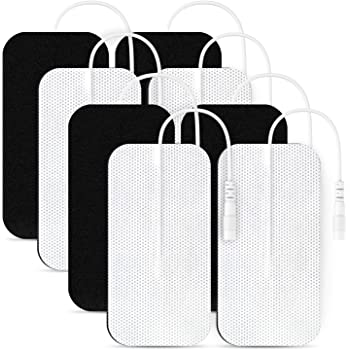 AUVON TENS Unit Pads 2X4 8 Pcs, 3rd Gen Latex-Free Rectangular Replacement Pads Electrode Patches with Upgraded Self-Stick Performance for Electrotherapy