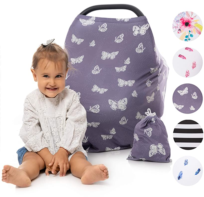 Nursing Cover for Breastfeeding, CarSeat Canopy, Breast Feeding Cover Ups, Car Seat Covers for Babies, Shopping Cart Cover, Butterfly Grey