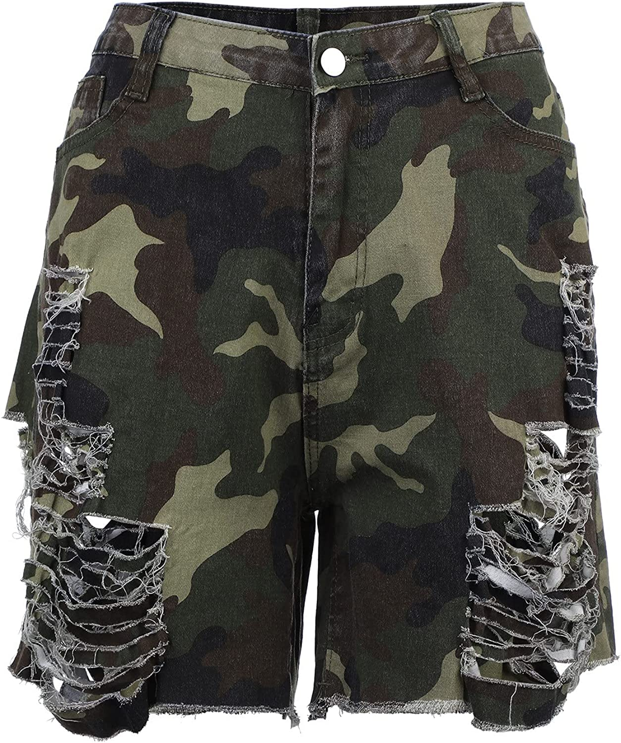 Jeans Pant for Women, Ladies All-Match Sexy Cut-Out Hollow Camouflage Denim Shorts