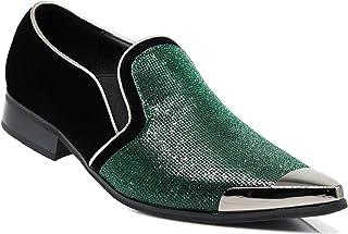 CRT Men Rhinestone Chrome Toe Suede Pointy Dress Loafer Slip On Fashion Shoes