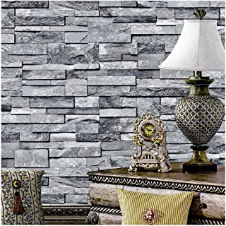 YT1490 Faux Stone Brick Textured Wallpaper Rolls,3D Embossed Effect Wallpaper Decorating Bedroom Living Room Kitchen Hotel CLUB's Wall 20.8