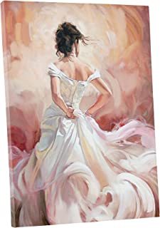 Niwo Art (TM - White Skirt Dancer - Ballet Dancing Series. Modern Abstract Oil Painting Reproduction. Giclee Canvas Prints Wall Art for Home Decor, Stretched and Framed Ready to Hang