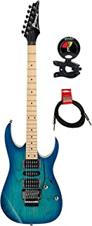 Ibanez RG470AHMBMT Solidbody 6 Strings Electric Guitar with Ash Body and 2 Humbucking Pickups and Double-locking Tremolo Package with Clip on Guitar Tuner and Instrument Cable - Blue Moon Burst