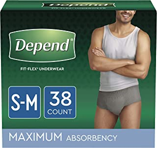 Depend FIT-FLEX Incontinence Underwear for Men, Maximum Absorbency, Small/Medium, Gray, 2..