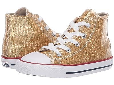 Converse Kids Chuck Taylor All Star Sparkle Hi (Infant/Toddler) (Gold/Enamel Red/White) Girls Shoes