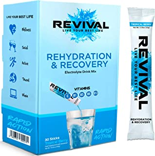 Revival Hydration Electrolyte Powder Packets, Supplement Drink Mix - Sport, Wellness, Travel - Tropical 30 Pack
