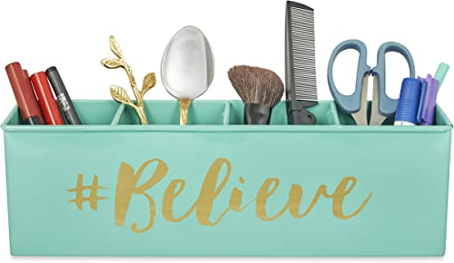 Elan Believe All In One Multifunctional Office Supplies Desk Organizer- Aqua
