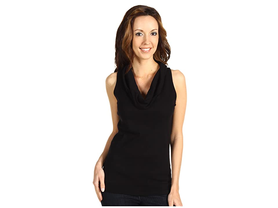 Three Dots Cotton Knits Sleeveless Rolled Cowl Neck (Black) Women