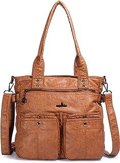Angelkiss Women Top Handle Satchel Handbag Shoulder Bag Washed PU Leather Purses and Handbags