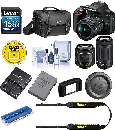 $496 Get Nikon D3500 24MP DSLR Camera with AF-P DX NIKKOR 18-55mm f/3.5-5.6G VR Lens and AF-P DX NIKKOR 70-300mm f/4.5-6.3G ED Lens - Bundle with Camera Case, 16GB SDHC Card, Cleaning Kit, Card Reader