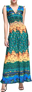 Wantdo Women's Maxi Dress Floral Print V Neck Casual Long Skirt Plus Size